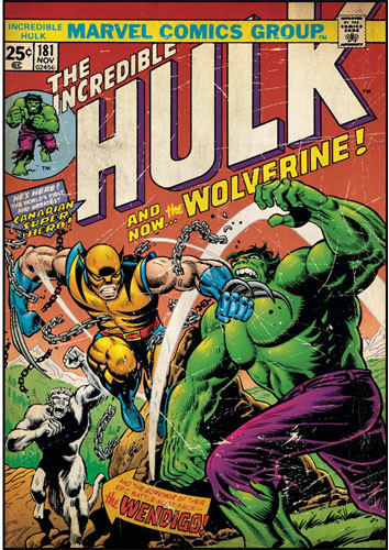 Incredible Hulk vs Wolverine Comic Book Cover Wall Accent modern ...