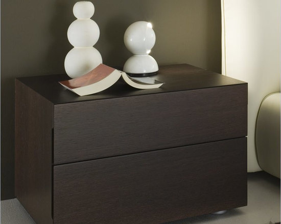 Rossetto Sound 2 Drawer Night Stand in Wenge - The sound nightstand provide adequate storage while accenting the appeal of the room. This night stand will make a great match to the Pavo Milk Bed (separately).
