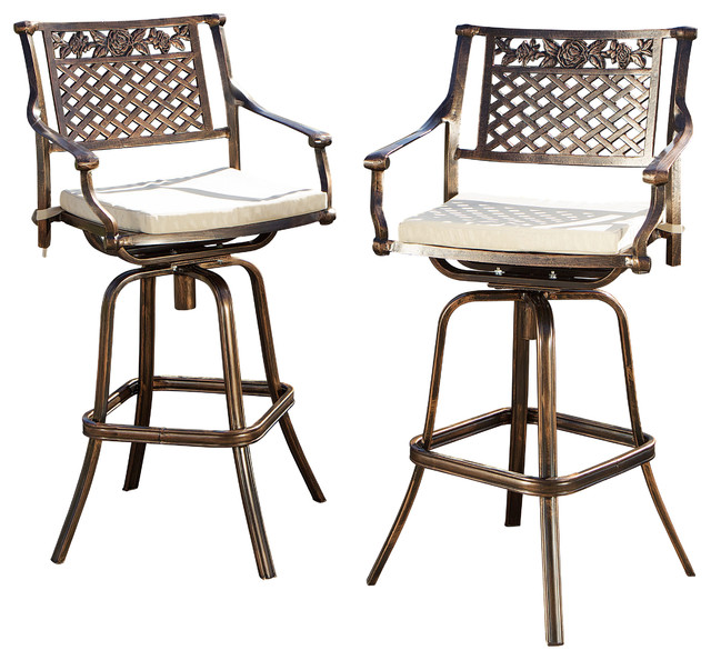 Sierra Outdoor Cast Aluminum Swivel Bar Stool W Cushion Set Of 2 Contempo