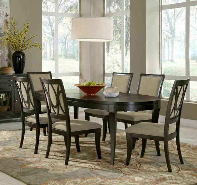7-piece Aura Oval Leg Dining Room Set, Samuel Lawrence