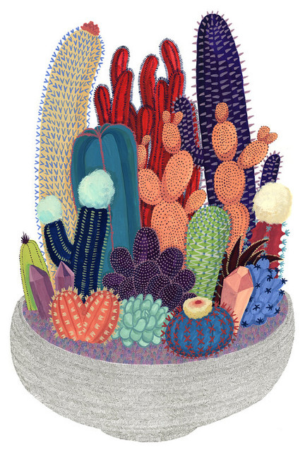 Crystal Cactus Print by Cactus Club contemporary-prints-and-posters