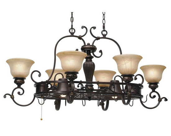 Golden Lighting - Jefferson 8-Light Hanging Pot Rack - Includes dual-chain canopy with hanging fixtures. Bulbs not included. Requires six incandescent 60 watt and two R20 50 watt medium base bulbs. Eight E27 sockets. Total wattage: 580. Electric wire gauge: 20288# SPT-1 18# 105 degree C. Traditional style. 3-way switch. Sculpted arms. Decorative brace and intricate feel. Thick antique marbled glass shade. UL listed for dry location. Made from metal and polyresin. Etruscan dark bronze color. Extension: 22 in.. Wire length: 12 ft.. Chain length: 20 ft.. Glass shade: 7 in. Dia. x 4.5 in. H. Canopy extension: 1.5 in.. Canopy: 16 in. W x 6 in. H. Overall: 42.5 in. W x 28.5 in. H. Warranty. Assembly Instructions