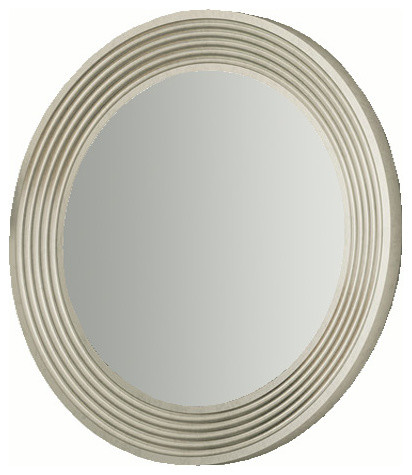 "Verona 31"" 1 2 oval mirror Silver gloss Contemporary"