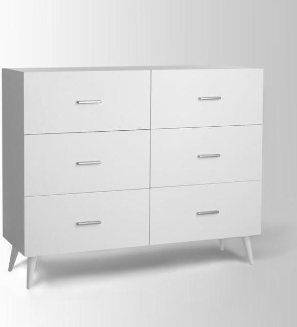 Adams 6-Drawer Dresser, White - Modern - by West Elm