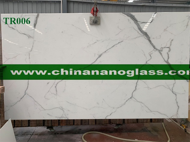 Crystallized White Glass Slab modern-floor-tiles