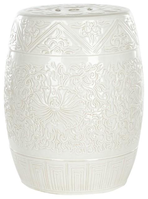 Safavieh castle gardens collection embossed ceramic garden for White garden stool