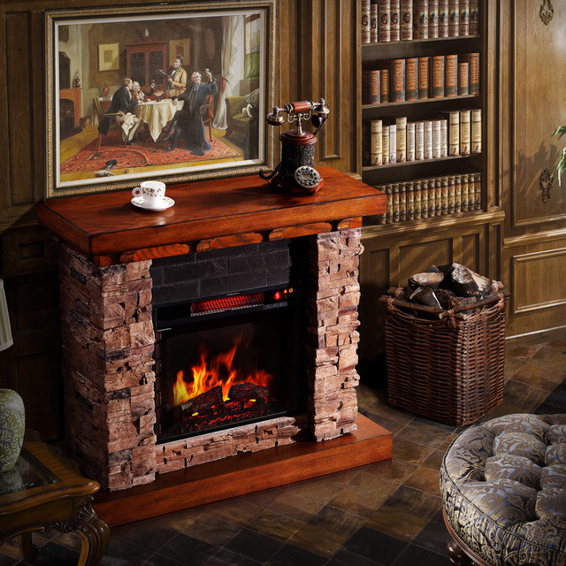 sirio stacked faux oak electric fireplace