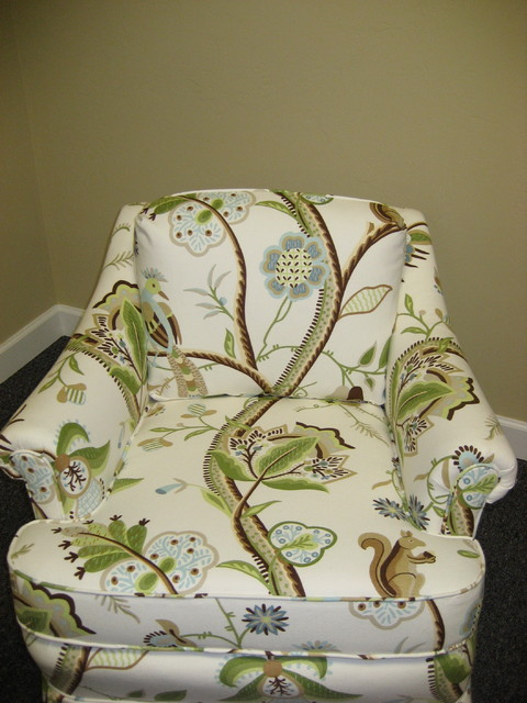Custom Chair with Thibaut Fabric tropical-upholstery-fabric