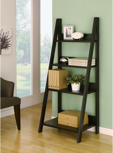 Tahoe Four Shelves Ladder Style Bookcase Display Cabinet