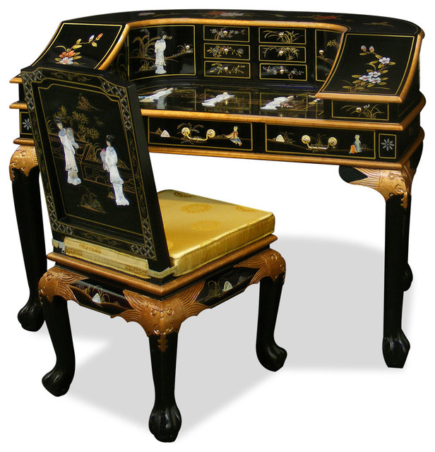 mother of pearl lady motif harpsichord style desk w chair