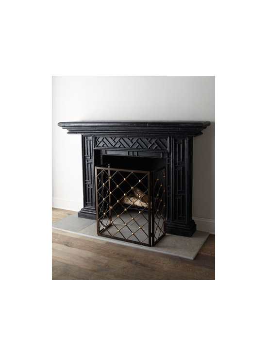 """Horchow - Country Manor Mantel - Simple, classic, geometric design mantel creates an engaging frame for your fireplace. Handcrafted of agglomerated stone. Hand-painted black finish. Outdoor safe. Wall mounted. 72""""W x 15""""D x 50""""T. Imported. Boxed weight, approximately 234.3 lbs..."""