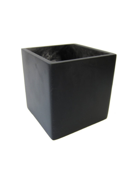 Martha Sturdy resin square vase in charcoal marble - Charcoal marble resin square vase in charcoal marble. Available in multiple sizes and colours.