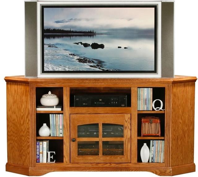 Oak Ridge 63.5 in. Corner TV Console (Medium Oak) - Contemporary - Entertainment Centers And Tv ...