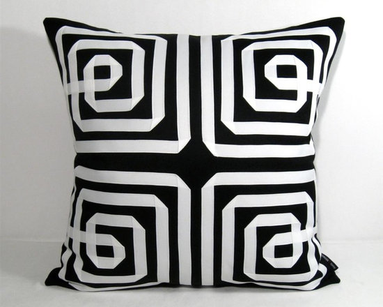 Black White Greek Key Outdoor Decor Cushion 20 inch - Stunning, oversized Celtic knot-meets Greek Key design makes for a super modern, bold visual (and textural) pattern. A eye-catching accent for the pool, outdoor or indoor space - a real conversation piece! Fully finished inside with a reinforced, weather proof zippered closure.