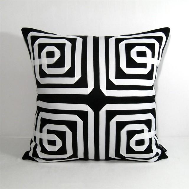 Black White Greek Key Outdoor Decor Cushion 20 inch