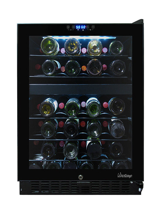 Vinotemp - 46-Bottle Dual-Zone Wine Cooler (Opens to the right) - This 46 bottle dual zone touch screen wine cooler is convenient, easy to use and will keep your wines properly stored so they'll be ready for any occasion. A digital controller with blue LED readout allows you to set the VT-46TS-2Z at two different temperatures, one temperature for your reds and one for your whites. Our distinctive black rack is a patent pending Vinotemp design exclusive.