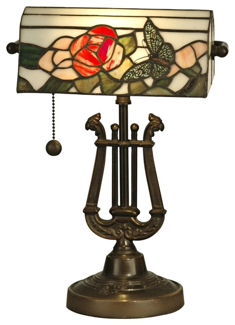 Country - Cottage Dale Tiffany Broadview Tiffany Style Banker's Lamp traditional-table-lamps