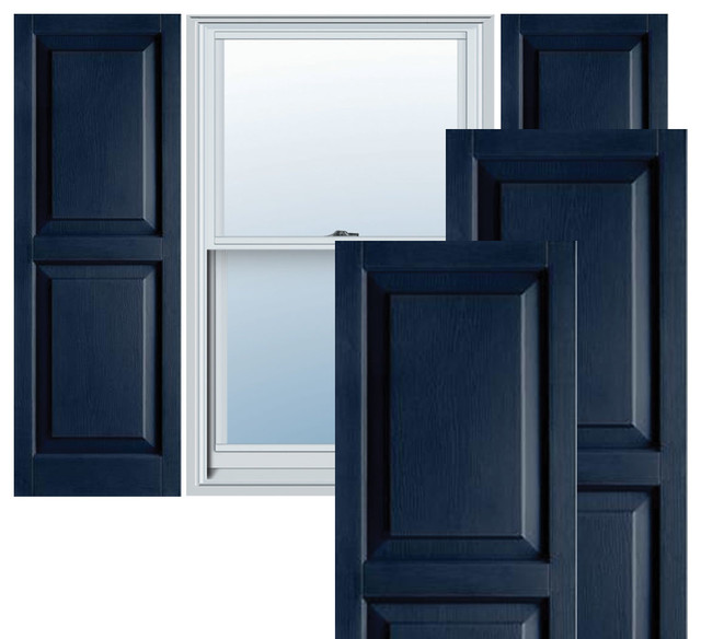 "14 1/2"" x 54"" Builders Choice Vinyl Raised Panel Shutters,w/Screws, Royal Blue traditional-window-treatments"