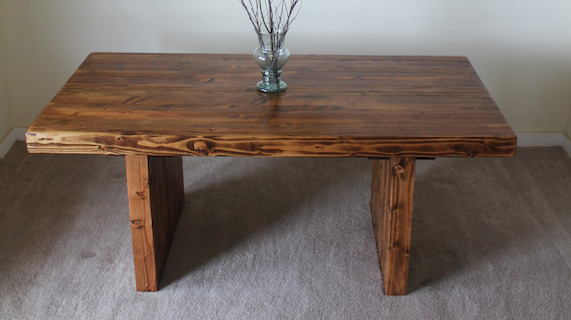 James James 6 Modern Farmhouse table in Early American stain Beach St