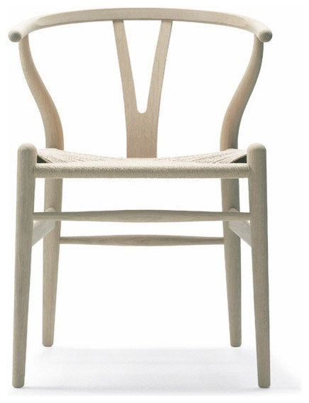 Wegner Wishbone Chair, Wood Oak, Soap/Natural Seat by Carl Hansen midcentury-dining-chairs