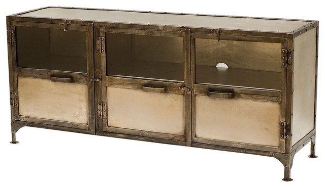 Element Industrial Media Console-Nickel eclectic media storage