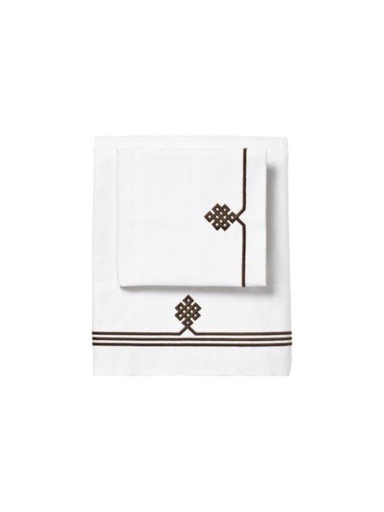 Serena & Lily - Chocolate Gobi Embroidered Sheet Set - Our not-so-basic white sheets make a great foundation for layering color and pattern throughout the room think of them as classics with a twist. An ancient Buddhist motif representing the endless knot of wisdom is embroidered on the flat sheet and cases. Thanks to 300-thread-count pure-cotton sateen, they're also wonderfully comfortable.