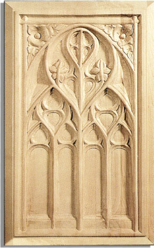Gothic Door Panel - white oak wood traditional-kitchen-cabinetry