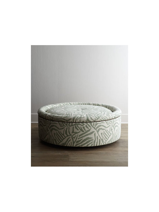 "Old Hickory Tannery - Old Hickory Tannery ""Lancy"" Swivel Ottoman - Looking for the perfect statement piece? This round swivel ottoman with its sensational safari print updates any space. Use it as extra seating or to host a tray. Frame made of hardwoods. Upholstered in acrylic/polyester/cotton-blend fabric. Nailhea..."