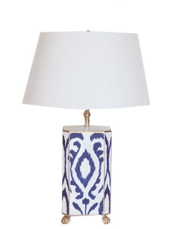 Navy Ikat Lamp - We love how this cool lamp juxtaposes the traditional color combo of navy and white with a modern ikat print motif. Place this handpainted tole lamp, available with a white or black shade, on a mirrored side table or fabulous credenza.