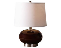 Transitional Uttermost Clayton Burgundy Glass Table Lamp contemporary table lamps