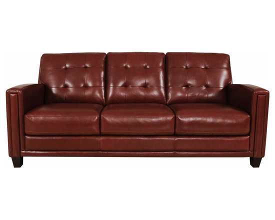 Winfield Chili Pepper Leather Sofa - Winfield Chili Pepper Tufted Leather Sofa.