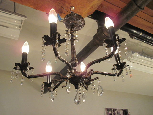 Vintage Brass and Crystal Chandelier chandeliers