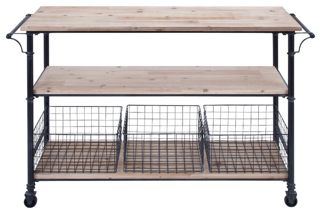 Utility Cart Wheels Metal Framework 3 Wood Shelves 3