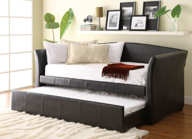 Homelegance 4956PU Meyer Dark Brown Finish Bi Cast Daybed