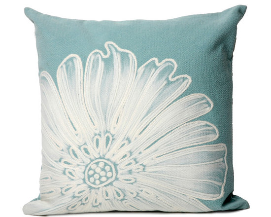 """Trans-Ocean Outdoor Pillows - Trans-Ocean Liora Manne Antique Medallion Aqua - 20"""" x 20"""" - Designer Liora Manne's newest line of toss pillows are made using a unique, patented Lamontage process combining handmade artistry with high tech processing. The 100% polyester microfibers are intricately structured by hand and then mechanically interlocked by needle-punching to create non-woven textiles that resemble felt. The 100% polyester microfiber results in an extra-soft hand with unsurpassed durability."""