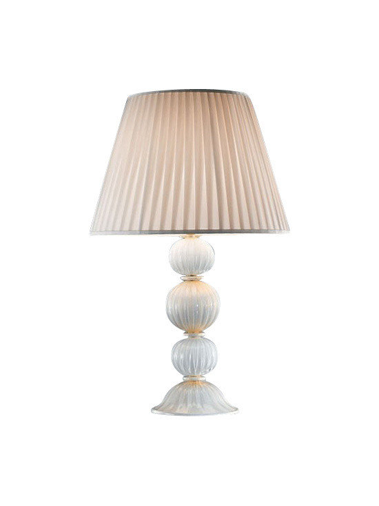 """VetriLamp - VetriLamp Murano 100 Table Lamp - The Murano 100 Table Lamp has been designed and made in Italy by VetriLamp. This beautifully handcrafted table lamp shows the great skill of Murano Glass workers that has been attained through hundreds of years of quality craftsmanship making each fixture unique. This fixture is available in an Ivory/Gold finish.  Product Details: The Murano 100 Table Lamp has been designed and made in Italy by VetriLamp. This beautifully handcrafted table lamp shows the great skill of Murano Glass workers that has been attained through hundreds of years of quality craftsmanship making each fixture unique. This fixture is available in an Ivory/Gold finish.  Details:                                     Manufacturer:                                      VetriLamp                                                     Designer:                                     VetriLamp                                                     Made in:                                     Italy                                                     Dimensions:                                      Height: 26"""" (65cm)Diameter: 16.5""""(42 cm)                                                     Light bulb:                                      1 X E26 Medium base incandescent                                                     Material:                                      Murano Glass"""