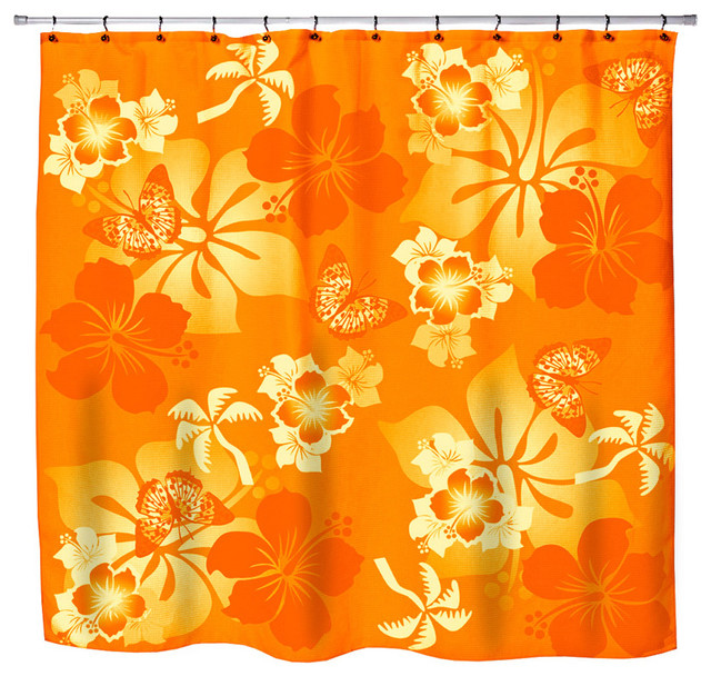 """Eco Friendly Hawaiian """"Aloha Orange"""" Hibiscus and Butterflies Shower Curtain contemporary-shower-curtains"""