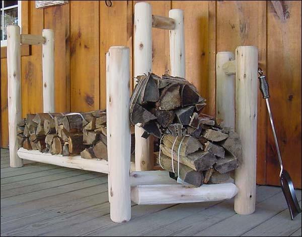 White Cedar Unstained Firewood Rack contemporary-firewood-racks