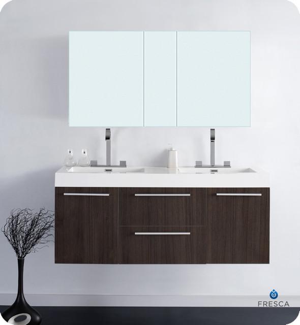 "54"" Opulento Double Vanity with Mirror - Gray Oak (FVN8013GO) modern"