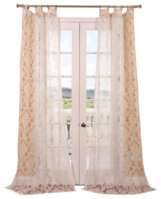 Antoinette white patterned sheer curtain contemporary for Patterned sheer curtain panels
