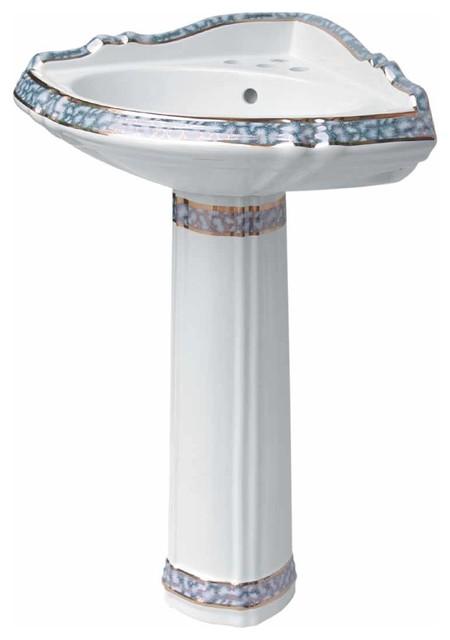 Corner Sinks White Vitreous China Sheffield Pedestal Cobalt Painted Traditional Bathroom