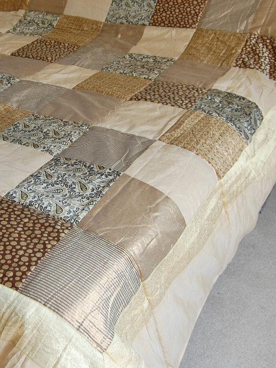 Cream/Gold Sari Brocade Indian Quilt -