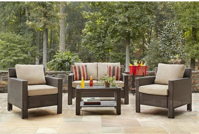 Hampton Bay Dining Furniture Beverly 4 Piece Patio Deep Seating Set With Beige Contemporary