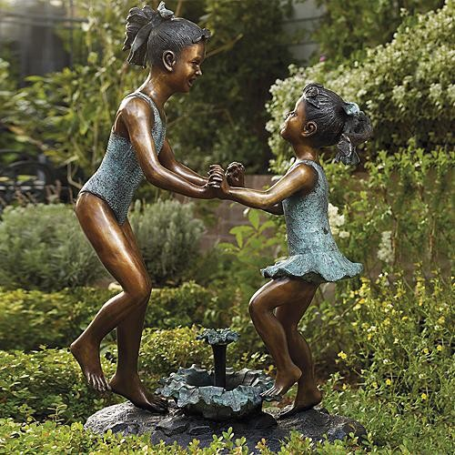 Dancing Sisters Cast Bronze Sculpture Frontgate Traditional Garden Sculptures on garden shed wine cellar