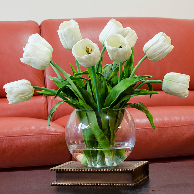 Real touch white tulip faux arrangements centerpieces for Artificial flowers decoration home