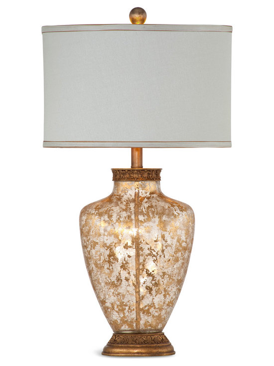 Bassett Mirror - Marlborough Table Lamp - Illuminate any space of your home with this vintage-inspired glass table lamp. Detailed with exquisite gold leaf flakes, relief wood base, and a clean white drum shade piped in gold, this lamp is a unique and stylish addition to your decor.