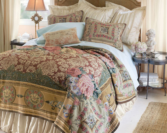 Mas La Barque Tapestry Coverlet - When Marie Antoinette wanted to escape the formalities of court life at Versailles, she retreated to the Petit Trianon, her more rustic country getaway. This stunning tapestry collection takes its inspiration from that charming chateau, fusing antique roses, Florentine scrolls and traditional architectural elements into a gorgeous array of color, pattern and texture. Exquisitely crafted in France of pure cotton, the coverlet is unlined; the coordinating sham is edged with braided cording and has a hidden zip closure.
