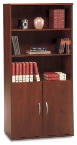 Bush Series C Double Bookcase with Doors - Hansen Cherry contemporary-bookcases