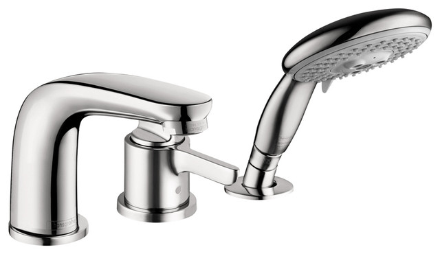 Hansgrohe 4130000 Allegro E 3 Hole Thermostatic Tubfiller Trim in Chrome modern-bathroom-faucets-and-showerheads