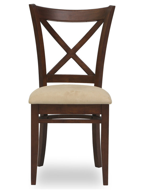 Bryght - Celia Sand Fabric Upholstered Cocoa Dining Chair - The Celia dining chair showcases a timeless and classic vintage design. Simple yet graceful, the Celia dining chair is well suited for all occasions, with its ergonomic solid wood cross back design and a cozy padded seat in microfiber.